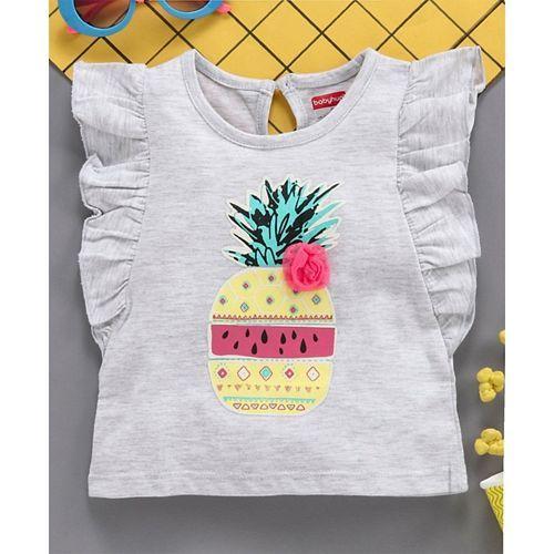 Babyhug Short Frilled Sleeves Tee Pineapple Print - Grey