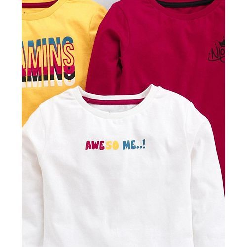 Vitamins Full Sleeves Tee Text Print Pack of 3 - Yellow Red White