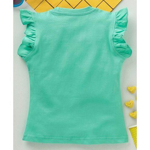 Babyhug Half Frilled Sleeves Graphic Tee - Green
