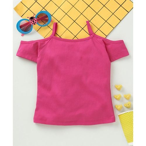 Babyhug Off Shoulder Printed T-Shirt - Dark Pink