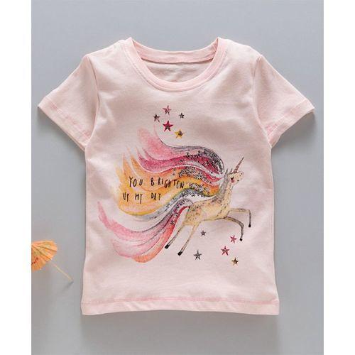 Kookie Kids Half Sleeves Tee Unicorn Print - Peach