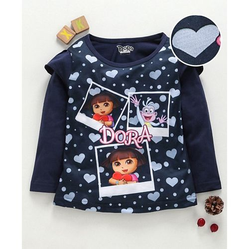 Eteenz Full Sleeves T-Shirt Dora Print - Navy Blue