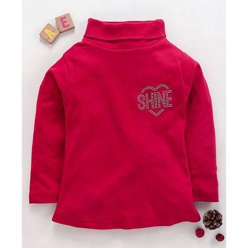 Eteenz Full Sleeves Top Shine Print - Dark Pink