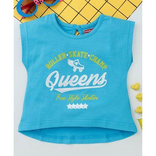 Babyhug Short Sleeves High Low Crop Top Queens Print - Blue