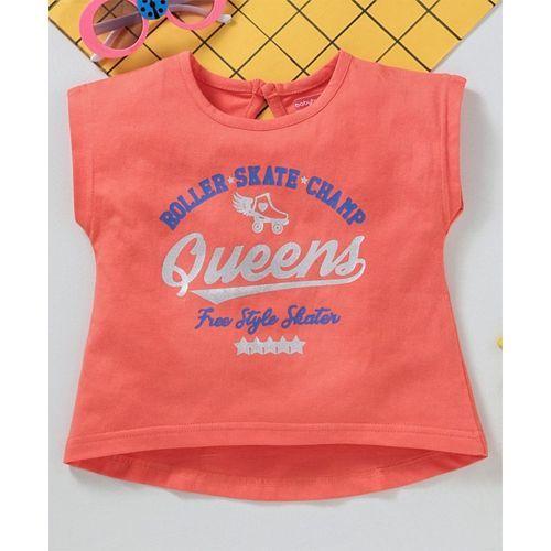 Babyhug Short Sleeves High Low Crop Top Queens Print - Orange
