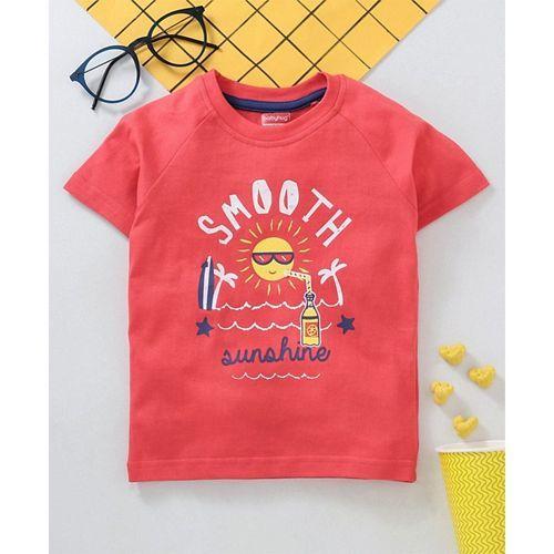 Babyhug Half Sleeves Tee Text Print - Red