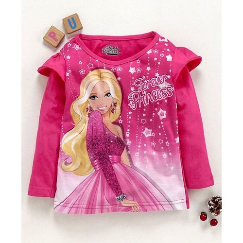 Eteenz Full Sleeves T-Shirt Princess Print - Fuchsia