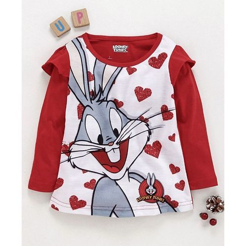 Eteenz Full Sleeves T-Shirt Bugs Bunny Print - Red