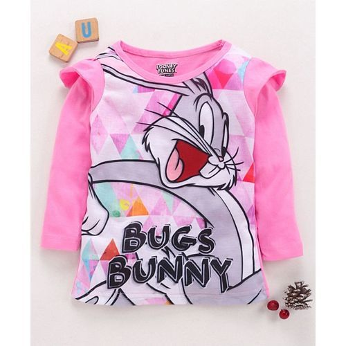 Eteenz Full Sleeves T-Shirt Bugs Bunny Print - Pink