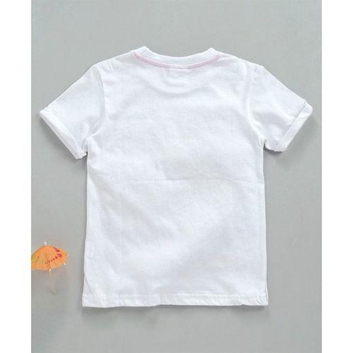 Kookie Kids Half Sleeves Tee Bunny Print - White