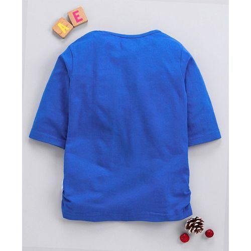 Eteenz Three Fourth Sleeves Top Dora Print - Blue White