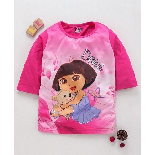 Eteenz Three Fourth Sleeves Top Dora Print - Pink
