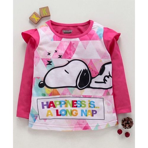 Eteenz Full Sleeves T-Shirt Snoopy Print - Fuchsia