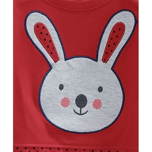 Tambourine Full Sleeves Bunny Patch Work Tee - Red