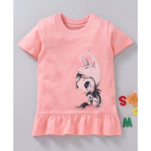 Kookie Kids Half Sleeves Top Bunny Print - Peach