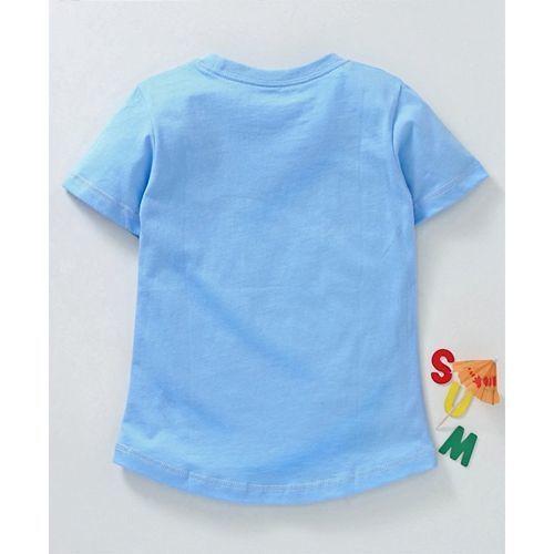 Kookie Kids Half Sleeves Tee Unicorn Print - Light Blue