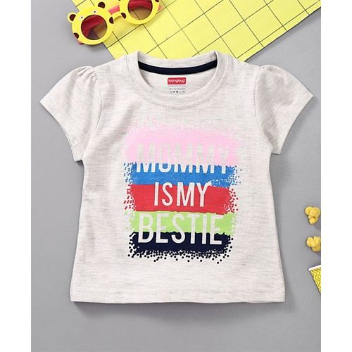 Babyhug Short Sleeves Top Mommy Print -Light Melange