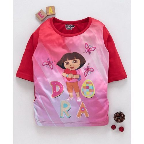 Eteenz Three Fourth Sleeves Top Dora Print - Red