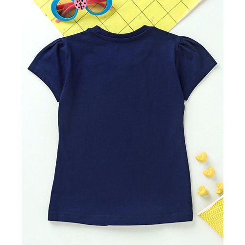 Babyhug Short Sleeves Top Text Print - Navy Blue