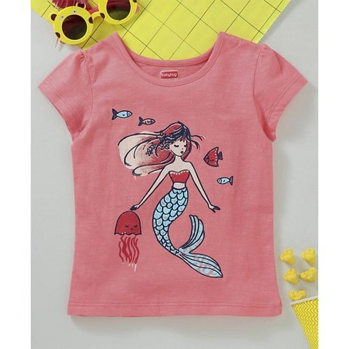 Babyhug Half Sleeves Tee Mermaid Print - Pink