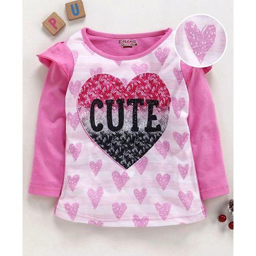 Eteenz Full Sleeves T-Shirt Heart Print - Pink
