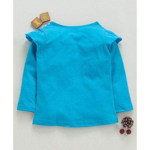 Eteenz Full Sleeves Striped T-Shirt Tropical Print - Teal Blue