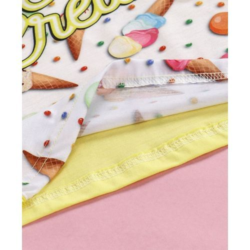 Eteenz Full Sleeves T-Shirt Ice Cream Print - Yellow