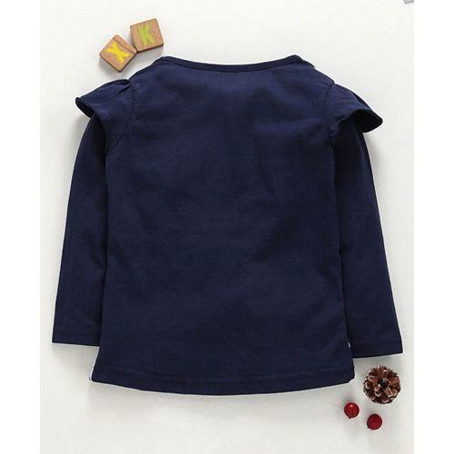 Eteenz Full Sleeves Chevron T-Shirt Heart Print - Navy Blue