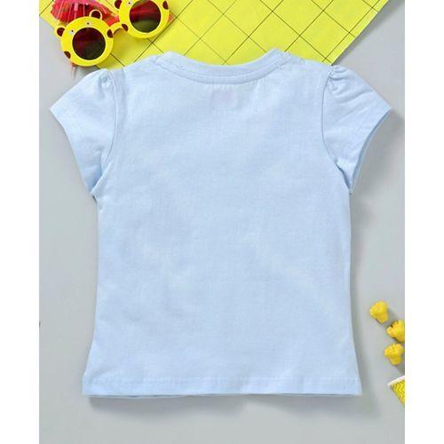 Babyhug Half Sleeves Tee Foil Glitter Print - Blue