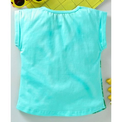 Babyhug Shorts Sleeves Tee Tropical Vibes Print - Sea Green