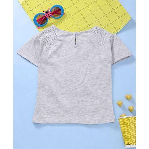 Babyhug Half Sleeves Tee Owl Print - Grey