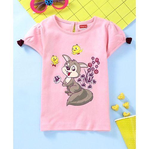 Babyhug Half Sleeves Tee Fox Print - Light Pink