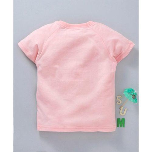 Kookie Kids Half Sleeves Tee Unicorn Print - Light Pink