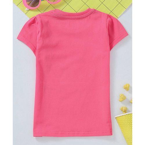 Babyhug Half Sleeves Tee Graphic Print - Pink