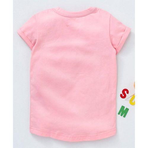 Kookie Kids Half Sleeves Tee Bunny Print - Light Pink