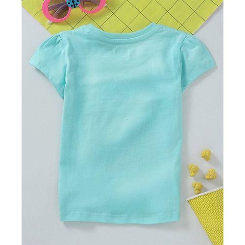 Babyhug Short Sleeves Tee Being Yourself Print - Mint Blue