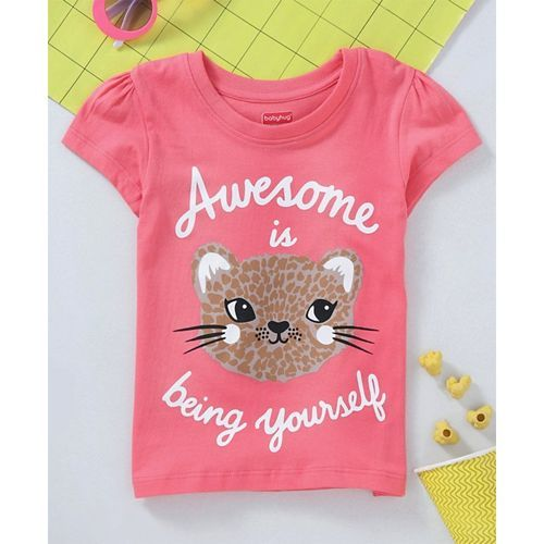 Babyhug Short Sleeves Tee Being Yourself Print - Pink