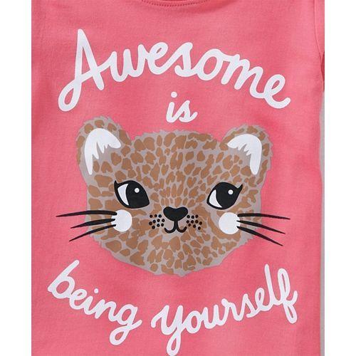 Babyhug Short Sleeves Tee Being Yourself Print - Pink