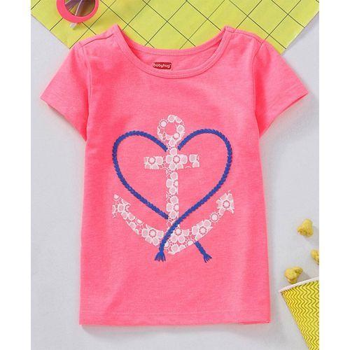 Babyhug Half Sleeves Tee Anchor Print - Pink