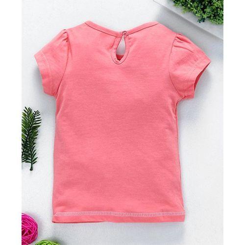 Babyhug Short Sleeves Tee Good Vibes Print - Peach
