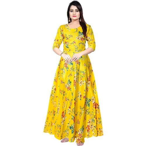 JWF Women Fit and Flare Yellow Dress