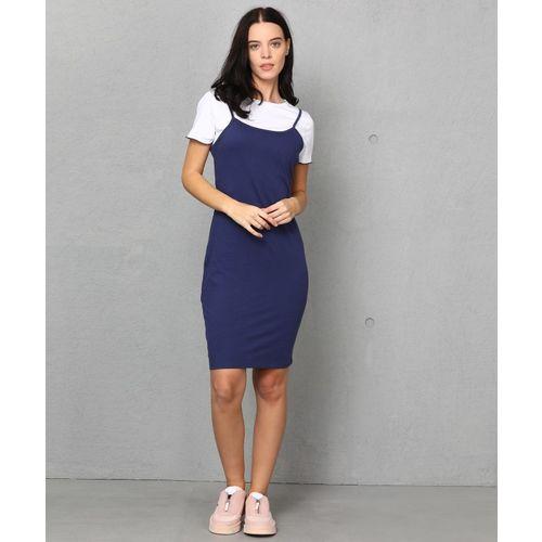 Metronaut Women Pinafore White, Dark Blue Dress