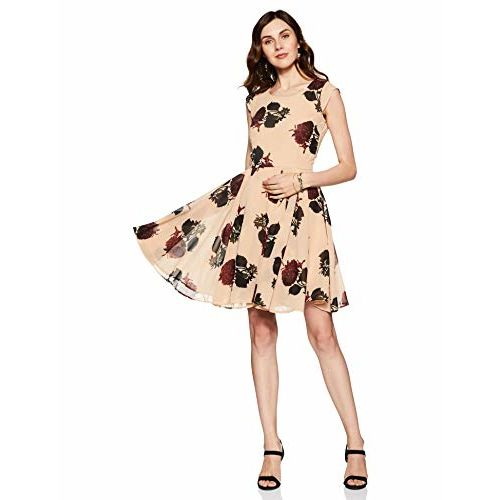 Harpa Peach Floral Printed Silk Skater Dress