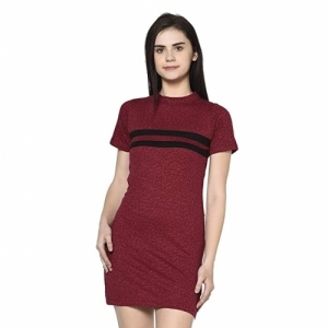 Rigo Maroon-Black/Orange-Navy Cotton Bodycon Dress