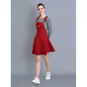 DIMPY GARMENTS Red Cotton Lycra Skirt with Top Dungaree