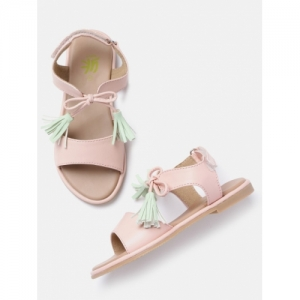 YK Peach-Coloured Synthetic Solid Open Toe Flats