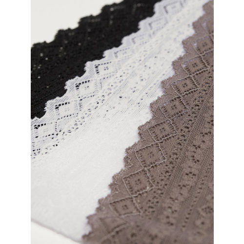 H&M Women Black 3-pack cotton thong briefs 0465655019