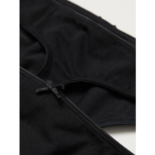 H&M Women Black 3-Pack Cotton Thong Briefs