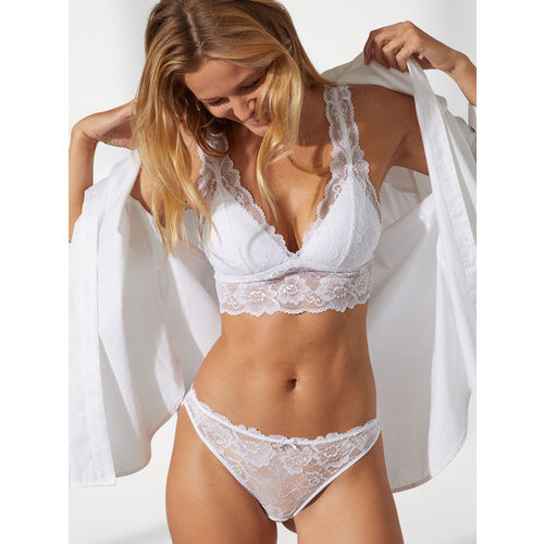 H&M Women White Self Design Lace Bikini Briefs 0679280002