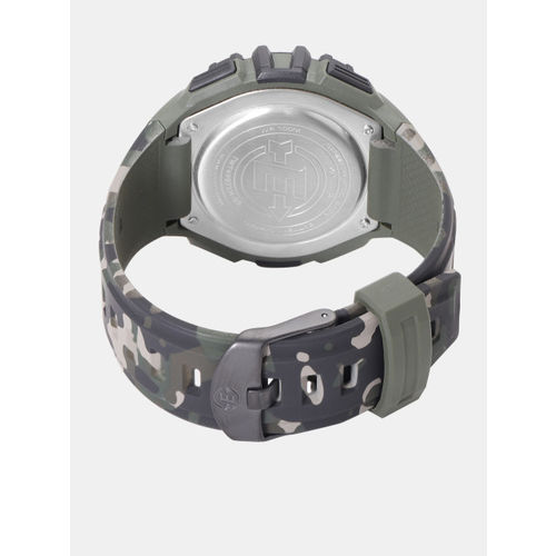 Timex Men Olive Green & Black Camouflage Print Multi Function Digital Watch TWT49971H